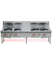 4 BURNER WATERLESS GAS WOK TABLE - CHIMNEY BURNER
