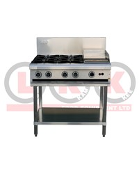 4 GAS OPEN BURNERS + 300mm RIGHT GRIDDLE WITH LEGS
