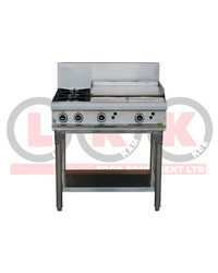2 GAS OPEN BURNER + 600mm GAS GRIDDLE WITH LEGS